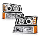 VIPMOTOZ Chrome LED Halo Ring Projector Headlight + Front Bumper Parking Turn Signal Lamp Housing Assembly Replacement For 2003-2006 Chevy Avalanche Silverado 1500 2500 3500