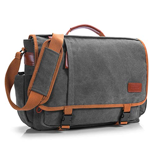 CoolBELL 17 Zoll Aktentasche Messenger Bag Umhängetasche Laptop Tasche Handtasche Business Briefcase Multifunktions Reise Tasche Passend für 17-17,3 Inch Laptop/Damen/Herren(Canvas Dunkel Grau)