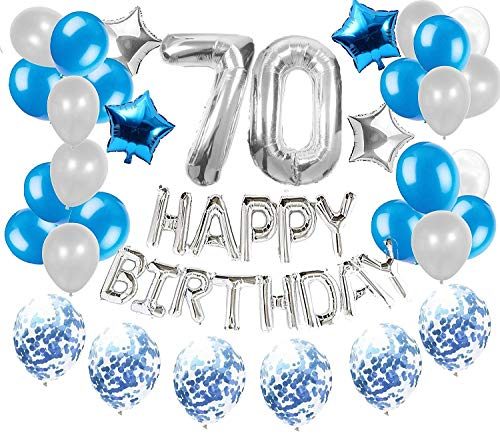 JeVenis 36 PCS Silber Blau 70. Geburtstag Dekorationen Party Supplies 70 Geburtstag Ballons Alles Gute zum Geburtstag Ballon Banner 70 Geburtstag Dekorationen