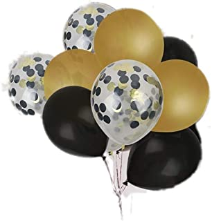 """Party Chic Confetti 9"""" Latex Balloons Set of 45 Balloons Black and Gold for Party Wedding Elegant Fancy Decorations Holiday Anniversary Birthday Supplies Bachelorette Bachelor Baby Shower"""