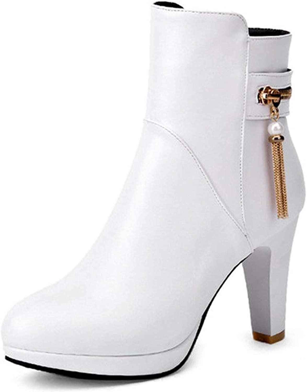Gcanwea Women's Sexy Fringe Almond Toe Side Zipper Booties Chunky High Heel Platform Ankle Boots Non-Slip On Sale Fashion Comfortable Attractive Leather Winter Ladies Warm White 4 M US Ankle Boots