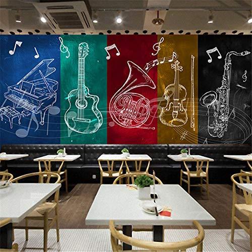rylryl Custom Rock Gitarre Musik Noten Fototapete Fototapete KTV Bar Restaurant Tanz Musik Hintergrundbilder-250X175CM