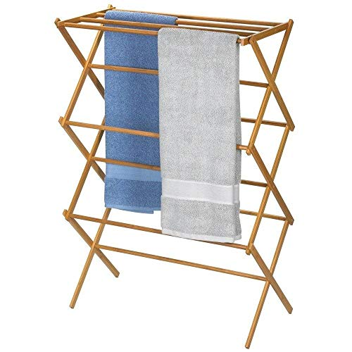 StarSun Depot Folding Laundry Clothes Drying Rack in Bamboo Wood