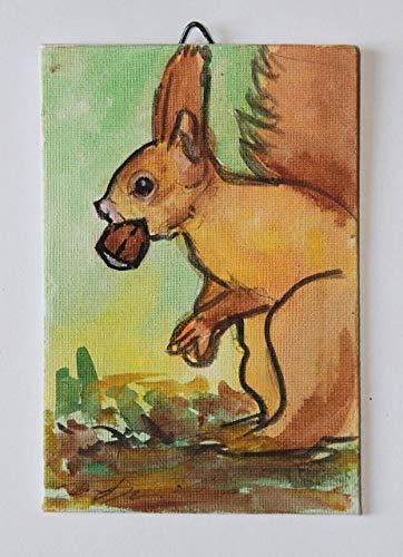 L'écureuil- Peint à la main sur papier toilé, dimensions cm 10x15x0.3cm, prêt à être accroché au mur Fabriqué en Italie, Toscane Lucques Créé par Davide Pacini.