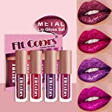 Mimore 4 colores Shimmer Brillo de labios Set Glitter Liquid Lipstick Brillo de labios impermeable Brillo metálico de larga duración Not Stick Cup Lip Tint