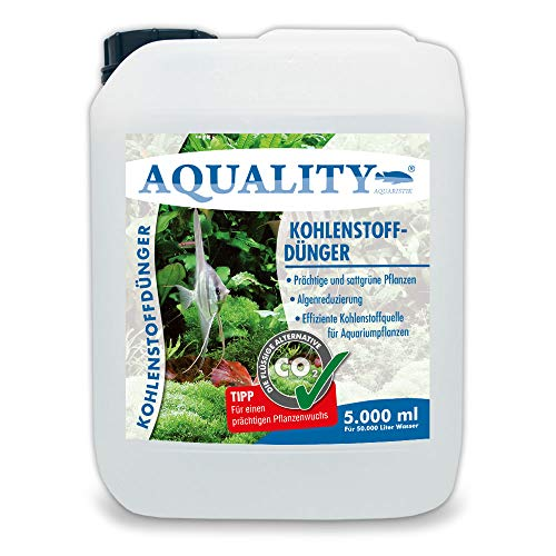 AQUALITY Aquarium CO2 Kohlenstoffdünger (Für prächtige, sattgrüne Aquarium-Pflanzen. Reduziert Algen, effiziente Kohlenstoffquelle), Inhalt:5 Liter