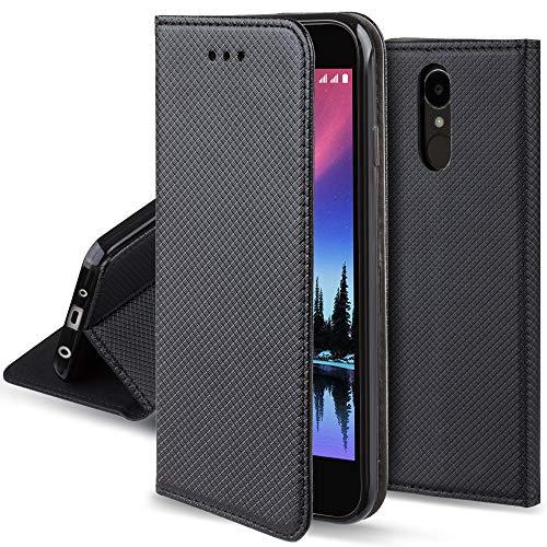 Moozy Funda para LG K4 2017, Negra - Flip Cover Smart Magnética con Stand Plegable y Soporte de Silicona