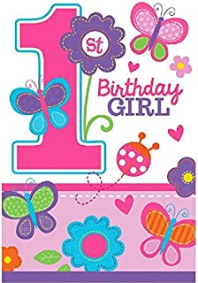 Die-Cut Postcard Invitations   1st Birthday   Girl   Flowers and Butterflies Collection