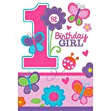 Die-Cut Postcard Invitations | 1st Birthday | Girl | Flowers and Butterflies Collection