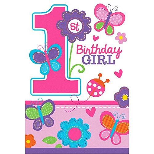 Uitnodigingskaarten voor de eerste verjaardag, motief: Sweet Girl