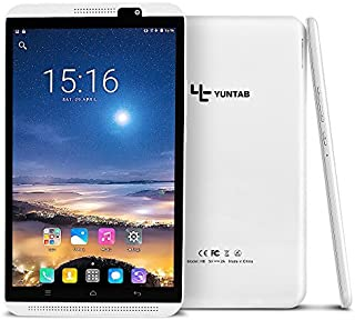 YUNTAB 8 inch Android Tablet, 4G Unlocked Smartphone, Support Dual SIM Cards, 2GB RAM 16GB ROM, 64bit Quad Core Cortex A53 CPU, IPS Touch Screen, Supports WiFi, Dual Camera(White)