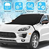 Tvird Car Windscreen Cover, Car Windscreen Frost Protector with Two Mirror Cover, Windshield Snow Ice Cover Elastic Hooks Windproof Design Will Not Scratch Paint,Fits Most Cars, SUV, Truck(215x125cm)