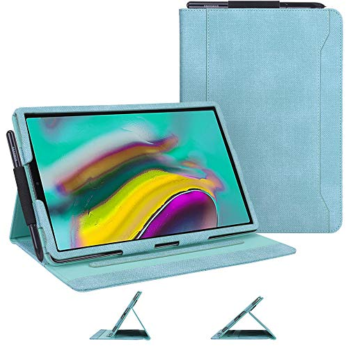 Samsung Galaxy Tab S5e Case, Skycase Canvas Multi-Angle Viewing Stand Folio Case for Samsung Galaxy Tab S5e 10.5' 2019 Release, with Pencil Holder and Card Holders, Mint Green