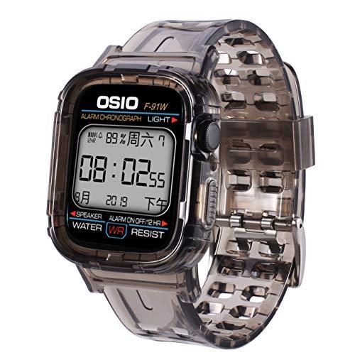Kompatibel mit Apple Watch Armband 44mm 42mm 40mm 38mm, Transparent Weiche Silikon Sport Ersatz Armband kompatibel iWatch Series 5, Series 4, Series 3, Series 2, Series 1,Ice + Black,44mm