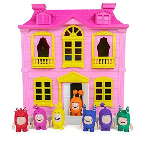 Casita Infantil Oddbods Rosa y Amarilla para Chicas - Incluye Espacios Interiores y Exteriores con Muebles y 7 Figuras con Detalles, para Mayores de 3 Años