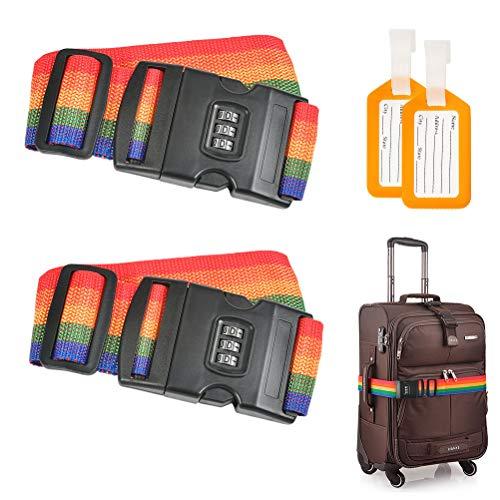 Idealeben 荷物ロックベルト 2個セット スーツケースベルト 3桁ダイヤル式 トランクベルト ワンタッチ 荷物タグ2個付き 調整可能 盗難防止 荷崩れ防止 旅行 出張 (虹色)