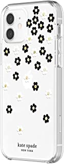 kate spade new york Protective Hardshell Case for iPhone 12 & iPhone 12 Pro - Scattered Flowers Black/White/Gold Gems/Clear/White Bumper