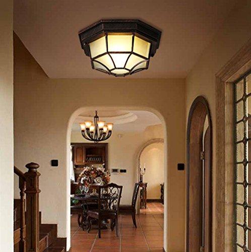 Plafón vintage de techo, para balcón, como luz exterior, para pasillo, cocina, entrada, escaleras, aspecto retro, de aluminio y cristal, diámetro 23 cm, 1 foco, bombilla E27