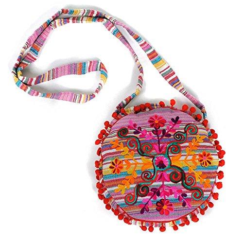 HAB & GUT -IB007A- RAJANI, Indische Damentasche, Umhängetasche, Crossbody Tasche aus 100% Baumwolle, STREIFEN PASTELLTÖNE ROSA MIT BUNTER STICKEREI