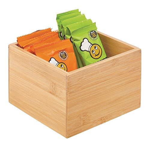 mDesign Caja de bambú de almacenaje – Organizador de cocina apilable de madera de bambú ecológica – Caja para infusiones para el armario de la cocina, los cajones o la despensa – color natural