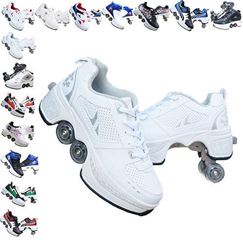 ASJUNQ Roller Skates for Women/Girls, Wheel Shoes for Boys/Men, Kick Roller Shoes for Kids, Quad Roller Shoes Retractable, Wheel Shoes Roller Sneakers Outdoor Recreation,White-4.5