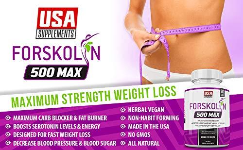 Pure Forskolin Extract for Weight Loss & Appetite Suppression | Diet pills that work fast for women & Men | Hunger Suppressant, Metabolism Booster, Carb Blocker & Belly Fat Burner | Coleus Forskohlii