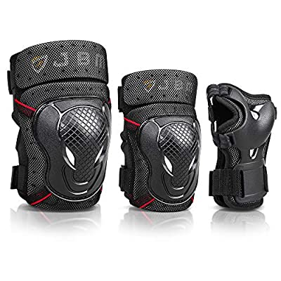 JBM Adult BMX Bike Knee Pads and Elbow Pads with Wrist Guards Protective Gear Set for Biking, Riding, Cycling and Multi Sports? Scooter, Skateboard, Bicycle (Black, Adult)