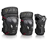 JBM Youth BMX Bike Knee Pads and Elbow Pads with Wrist Guards Protective Gear Set for Biking, Riding, Cycling and Multi Sports Safety: Scooter, Skateboard, Bicycle (Black, Youth/Teens)