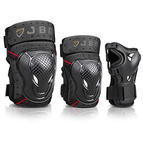 JBM Adult BMX Bike Knee Pads and Elbow Pads with Wrist Guards Protective Gear Set for Biking, Riding, Cycling and Multi Sports: Scooter, Skateboard, Bicycle (Black, Adult)