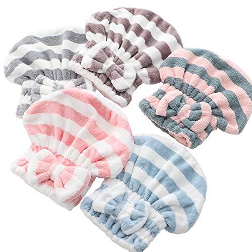 Toallas para secar el Pelo,DBAILY 5pcs Toalla Turbante para el Pelo Turbante del Abrigo de Pelo de la Cute Bowknot Rápidamente Seco Pelo Sombrero Toallas de Pelo Super Absorbentes