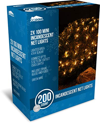 Joiedomi 2x100 Warm White Incandescent Christmas Net Lights for Indoor & Outdoor Decorations, Christmas Events, Christmas Eve Night Decor, Christmas Tree, Bushes