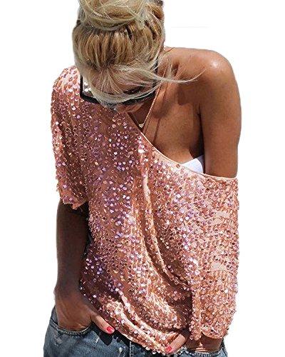 Minetom Damen Trägerlos Batwing T-Shirts Beiläufige Loose Paillette Tops Bluse Oberteile Street Style Gold DE 34