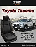 KATZKIN Black and Red Leather Seat Covers Compatible with 2016-2017-2018-2019-2020 Toyota Tacoma Double Cab