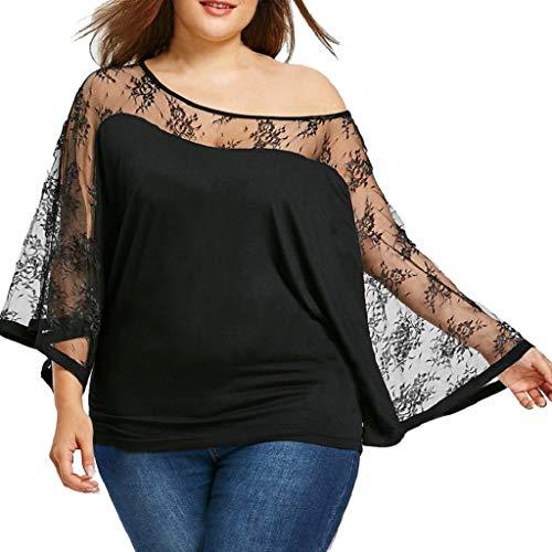 Las mujeres más el tamaño de encaje sólido de manga larga blusa transparente...