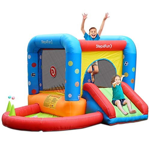 Step4Fun Bounce House with Blower for Kids Indoor Inflatable Bouncy Castle for Toddlers Baby Outdoor Jump House Small Water Slide Jumper Backyard air Playhouse Center Toys with Ball and Repair kit
