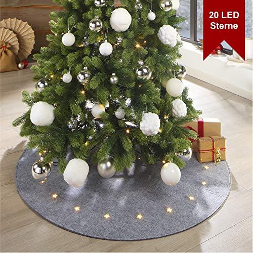 LILENO HOME Weihnachtsbaumdecke LED in grau mit 8 Leuchtfunktionen - festlicher Baumteppich aus Filz - Tannenbaumdecke rund (100cm) für EIN besinnliches Weihnachten - inkl. Timer