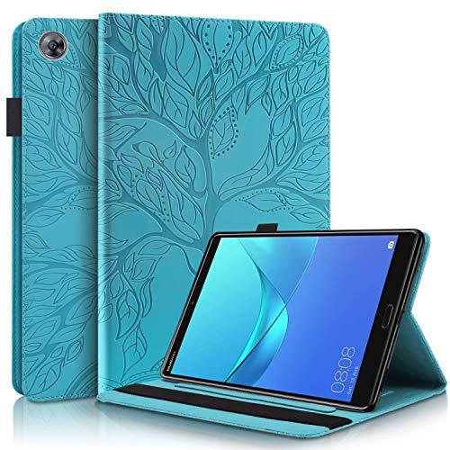 HülleFun Hülle für Huawei MediaPad M5 /M5 Pro 10.8 Zoll 2018 Baum des Lebens Ultra Slim TPU Schutzhülle Tasche Folio Flip Stand Cover mit Kartenfächern, Blau