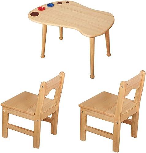 ZH Madera Maciza para Infantiles Juegos Mesa Y 2 Sillas, Mesa De Actividades para Niños pequeños,Sala De Niños Dormitorio GuarderíA Sala De Juegos Muebles De Madera, Estilo Moderno