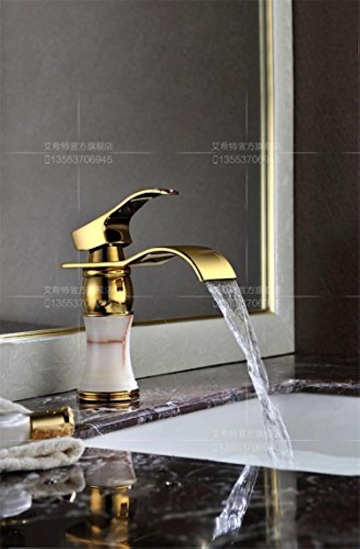 MangeooAlle Kupfer Hei und Kalt Fashion Golden Jade Wasserfall Waschbecken Wasserhahn, weie Jade
