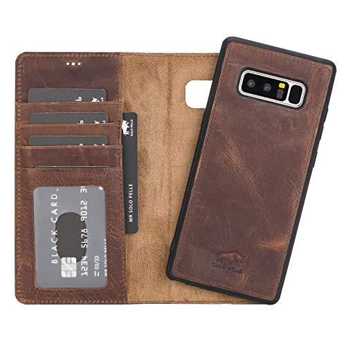 Solo Pelle Lederhülle Harvard kompatibel für das Samsung Galaxy Note 8 inklusive abnehmbare Hülle mit integrierten Kartenfächern (Vintage Braun)