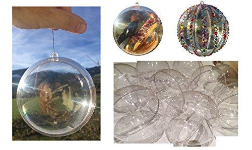 CRYSTAL KING 15 palline in acrilico, diametro 9 cm, per albero di Natale, set di palle di Natale in acrilico, divisibili