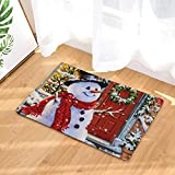 Christmas Tree Floor Mat, Non-Slip Moose with Antlers and Santa Claus Hat Xmas Celebrations Themed Print Decor Flannel Floor Mat with Non-Skid Backing, 40 x 60 cm