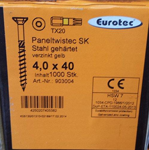 EUROTEC Paneltwistec Senkkopf, Stahl gelb verz., TX 20 / 4,0 × 40 mm / VPE 1000