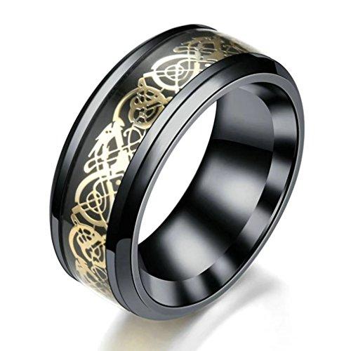 Desconocido Fashion Life2018 Anillo de 8 mm para hombre, diseño de dragón celta para hombre, titanio, anillo de boda para novio, tamaño 6 – 12, color negro