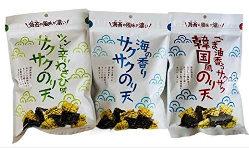 まるか食品 サクサクのり天 3種食べ比べパック 海の香り/ツンと辛いわさび味/ごま油香る韓国風のり天 まとめ買い×3袋