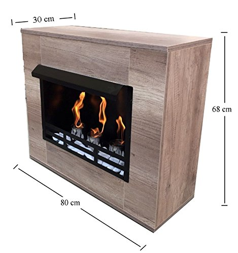 Stufa a legna, caminetto ad etanolo e gel, moderno in acero, Limited Edition