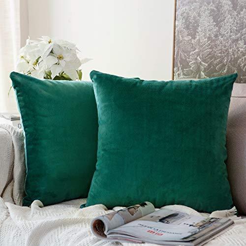 MIULEE Pack de 2, Terciopelo Suave Juego de Mesa de Manta de decoración Cuadrado Fundas de Almohada Funda de cojín para sofá Dormitorio Coche 18 x 18 Pulgada 45 x 45 cm Verde malaquita