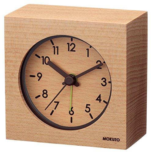 ランデックス(Landex) 目覚まし時計 アナログ MOKUZO ミニキューブ 木枠 ナチュラル YT5224WH