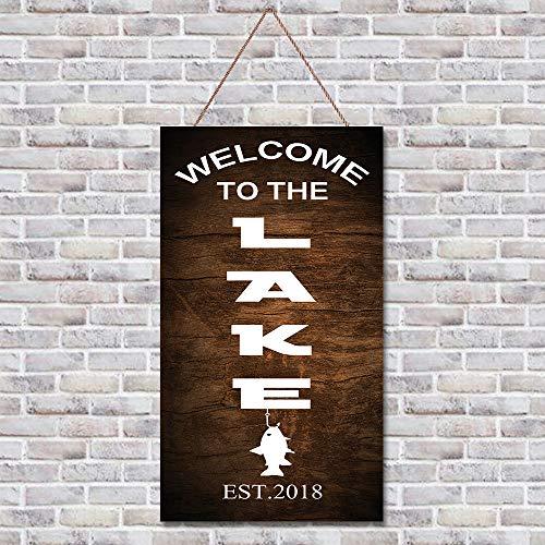 Placa de madera rústica con citas de madera, decoración de pared, divertida decoración para colgar en la pared, letrero decorativo de texto «Welcome to the Lake para el hogar, sala de estar, dormitorio, puerta de jardín, 50,8 x 30,5 cm