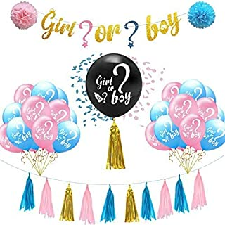 DIY Gender Reveal Party Supplies Pink and Blue Confetti Balloons Decorations Baby Boy Girl Decoration Supply Kit Baby Show...